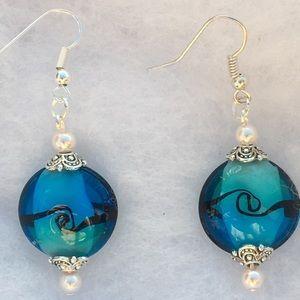 Blue Swirl Glass Drop Earrings